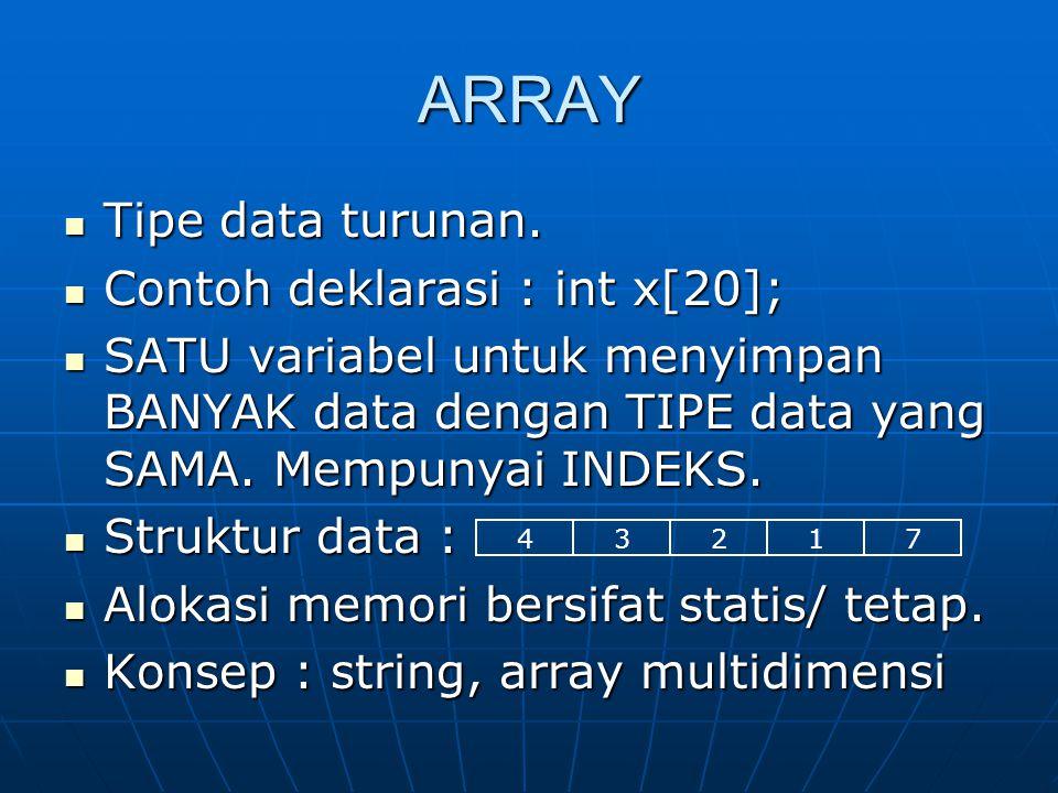 ARRAY Tipe data turunan. Contoh deklarasi : int x[20];